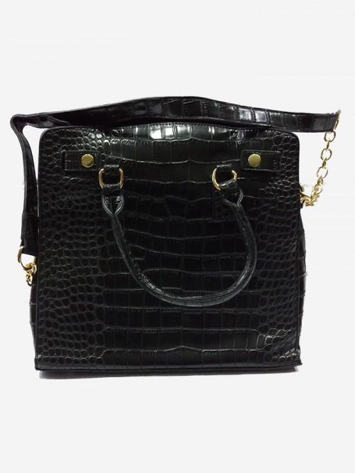 black crocodile leather look bag