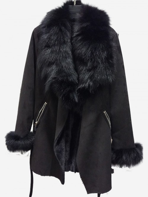 Beautiful long jacket with real rabbit fur
