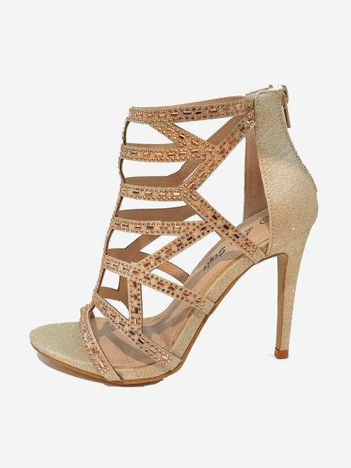 Magnifique chaussure de soirée talon environ 9 cm  couleur doré